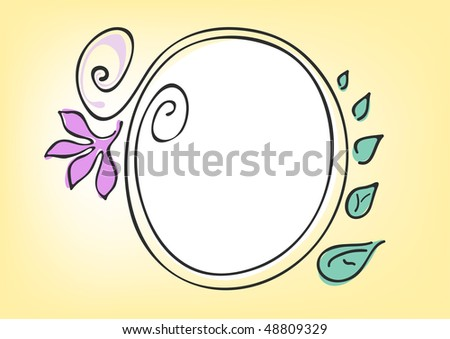 Vector illustration of circle frame on a yellow background