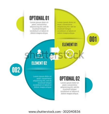Vector illustration of circle split infographic design element. - stock vector