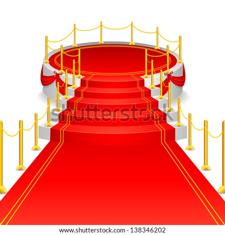vector illustration of circular stage with red carpet - stock vector