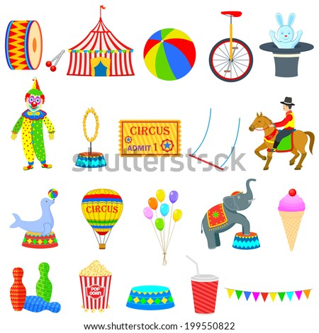 vector illustration of circus theme object - stock vector