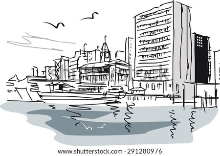 Vector illustration of city buildings. - stock vector
