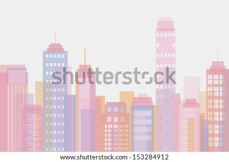 Vector illustration of city buildings in rose pastel tones - stock vector