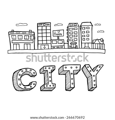Vector illustration of city buildings. Panorama town - sketch illustration - stock vector