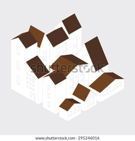 Vector illustration of city  district concept. Isometric style. - stock vector