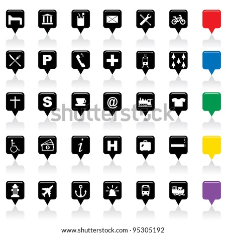 Vector illustration of city map icons, - stock vector