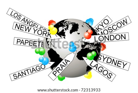 Vector illustration of city tags on the globe depicting geotagging - stock vector