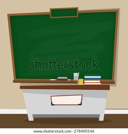 Vector illustration of classic chalkboard in classroom - stock vector