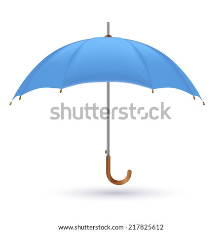 Vector illustration of classic elegant opened red umbrella isolated on white background.