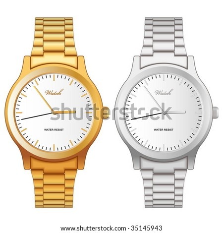 Vector illustration of classic golden and steel wristwatch isolated on white background. - stock vector