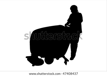Vector illustration of cleaner with floor buffing machine - stock vector