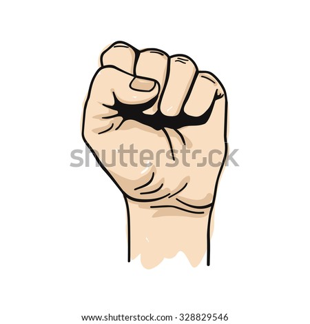 Vector illustration of clenched fist held high in protest - stock vector