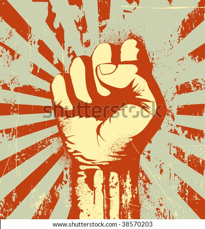 Vector illustration of clenched fist held high in protest on the red grunge urban background - stock vector
