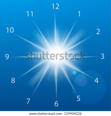 Vector illustration of clock sun on a blue background. - stock vector