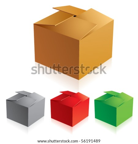 closed box clipart. vector illustration of closed color cardboard boxes with bottom box clipart