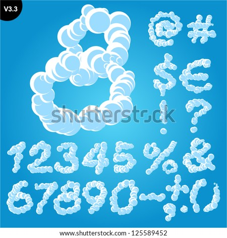 Vector illustration of cloud alphabet on a blue sky background. Freehand font Glyphs - stock vector