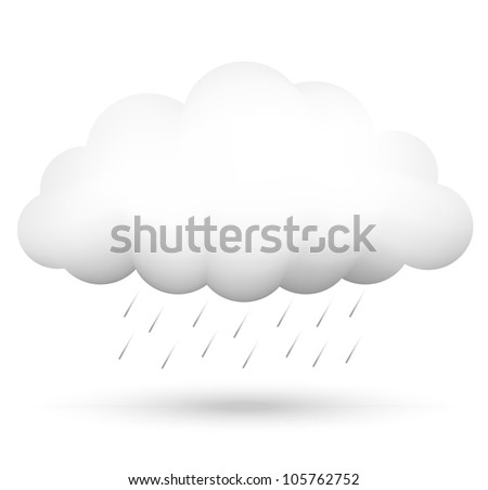 Vector illustration of cloud and rain - stock vector