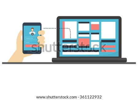 Vector Illustration of Cloud Computing Concept. Social network, communication in the global computer networks. laptop phone tablet Connection - stock vector