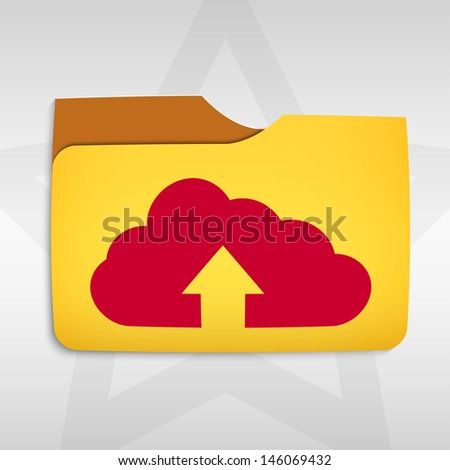 Vector illustration of cloud computing concept with  cloud icon and folder - stock vector