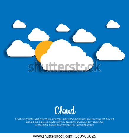 Vector illustration of clouds and sun