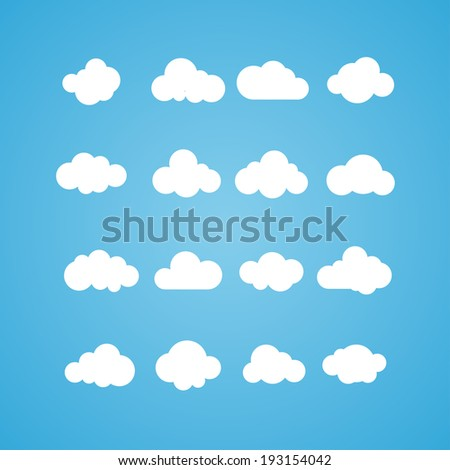 Vector illustration of clouds collection. Concept - computing web and app, weather - stock vector