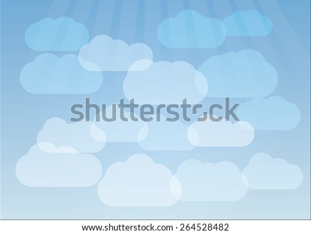 Vector illustration of clouds on blue sky background