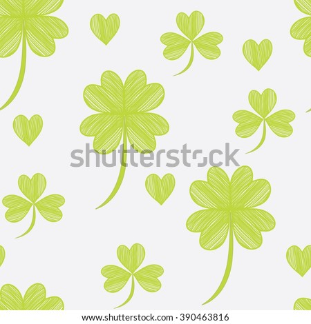Vector illustration of clover.Seamless pattern. - stock vector