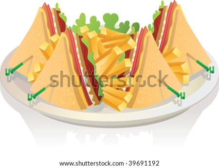 vector illustration of club sandwitch and french fries - stock vector