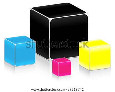 vector illustration of CMYK colors - stock vector