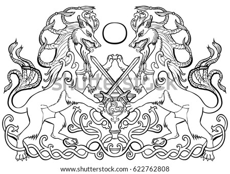 Vector Illustration Of Coat Arms Fantasy Animals Sword Fight About Bowl Celtic Ornament Black And