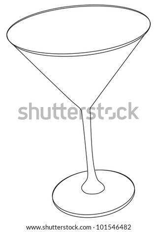 Vector illustration of cocktail glass - contour outline - stock vector