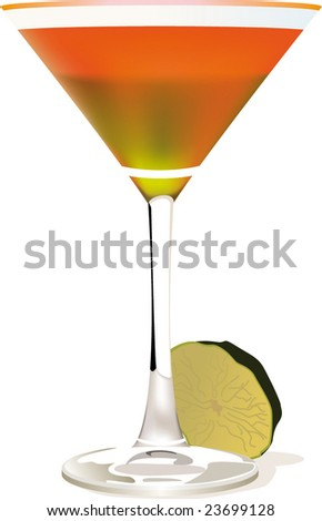 Vector illustration of cocktail in glass with lemon