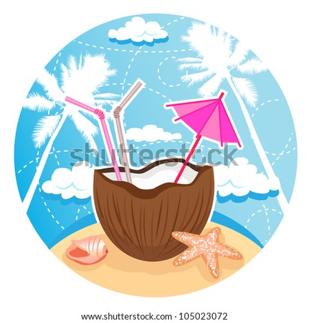 Vector illustration of coconut cocktail on tropical beach. Separate layers. - stock vector