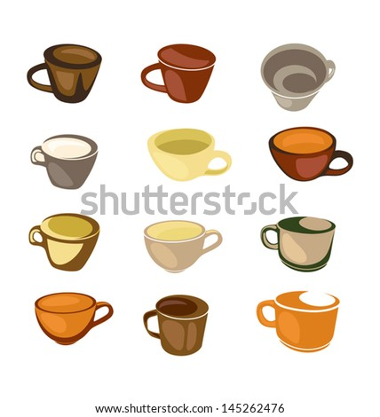 vector illustration of  coffee cup set - stock vector