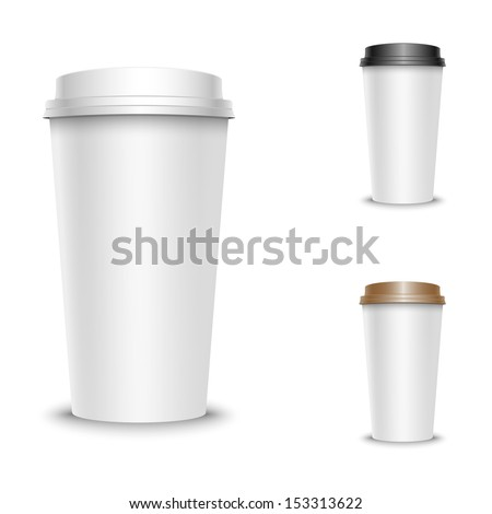 Vector illustration of coffee cups set, isolated on white - stock vector