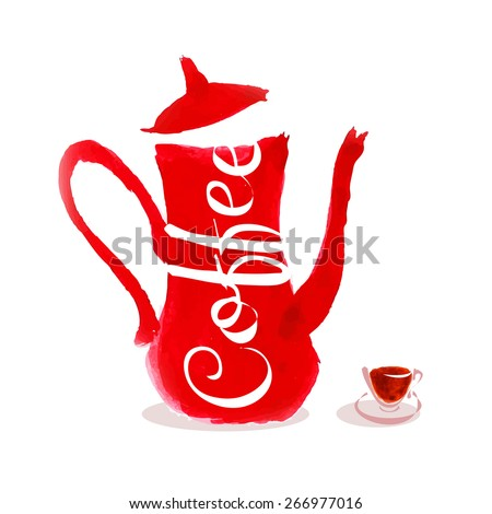 Vector illustration of coffee pot and coffee cup - stock vector