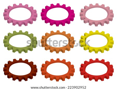 Vector illustration of cogwheel, mechanical toothed wheel gear for rotation, in different vibrant colors isolated on white background. - stock vector