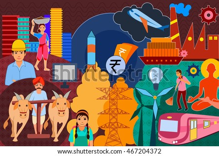 vector illustration of collage displaying progress and development of India