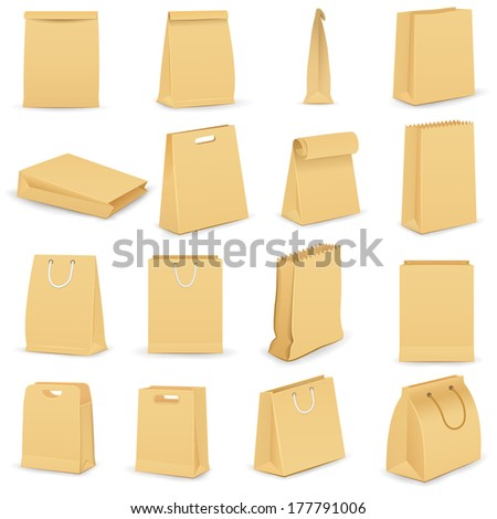 vector illustration of collection of brown paper bag - stock vector