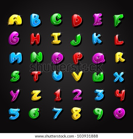 vector illustration of collection of colorful alphabet and number