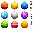 vector illustration of collection of colorful Christmas bauble - stock vector