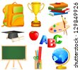 vector illustration of collection of colorful education object - stock vector
