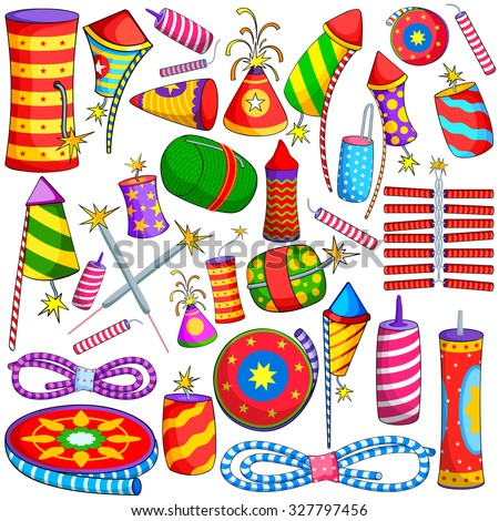 vector illustration of collection of colorful firecracker for Diwali