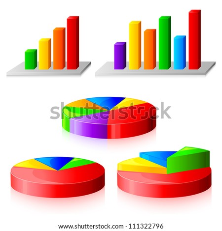 vector illustration of collection of different colorful business graph