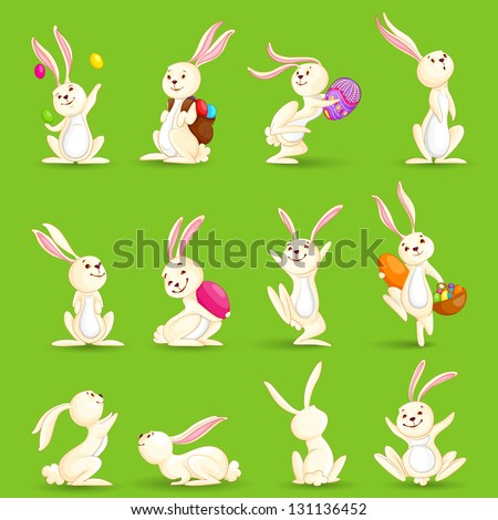 vector illustration of collection of Easter bunny with colorful egg - stock vector