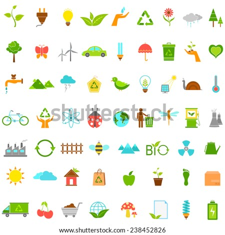vector illustration of collection of ecological and environmental icons - stock vector