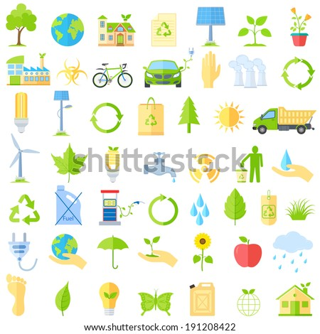 vector illustration of collection of ecological icons - stock vector