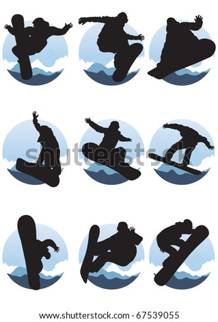 Vector illustration of collection of emblems of snowboarders - stock vector