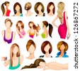 vector illustration of collection of female hair style - stock vector