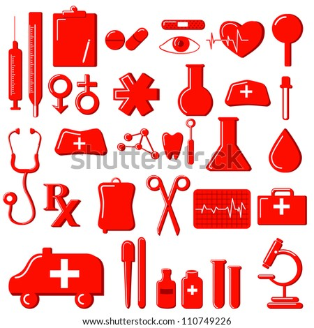 vector illustration of collection of medical icon - stock vector