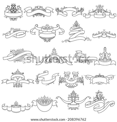 vector illustration of collection of vintage calligraphic design - stock vector
